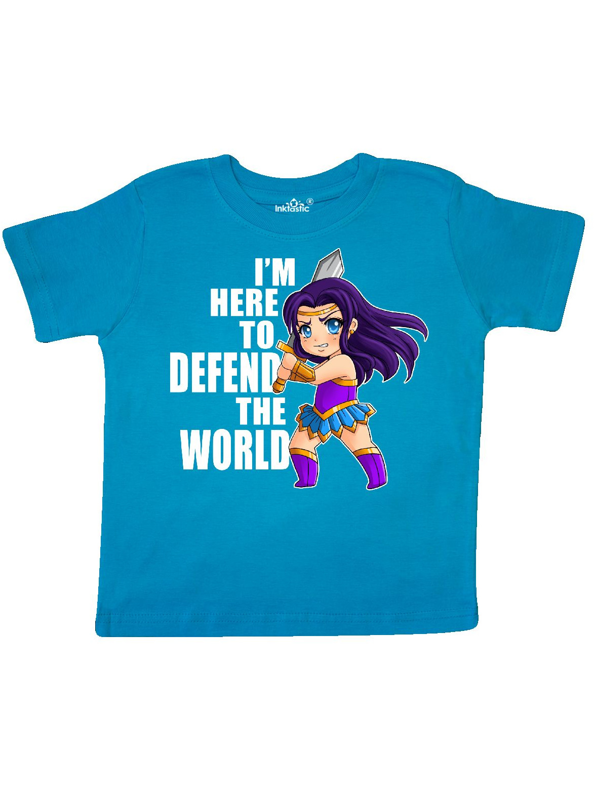 Im Here to Defend The World Toddler T-Shirt inktastic Chibi Warrior