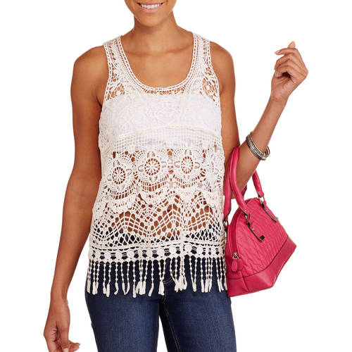 No Boundaries Juniors' Crochet Lace Tank with Fringe Trim