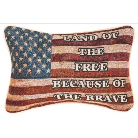 - Manual 12.5 x 8.5-Inch Decorative Throw Pillow, Land of The Free, Stars and stripes embroidered throw pillow By Manual Woodworkers
