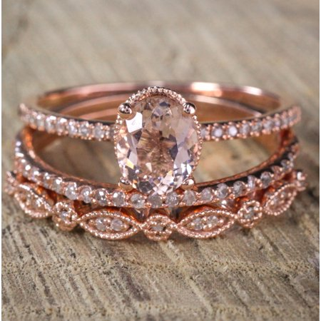 Jeenmata 2 Carat Antique Milgrain Oval Shape Morganite Diamond Trio Ring Set In 10k Rose Gold With One Halo Engagement Wedding Bands