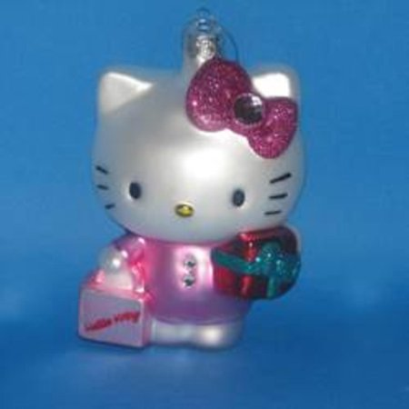 "4.75"" Hello Kitty with Present Glass Decorative Christmas ..."