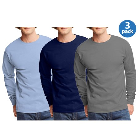 mens tagless cotton crew neck long-sleeve tshirt, 3 Pack