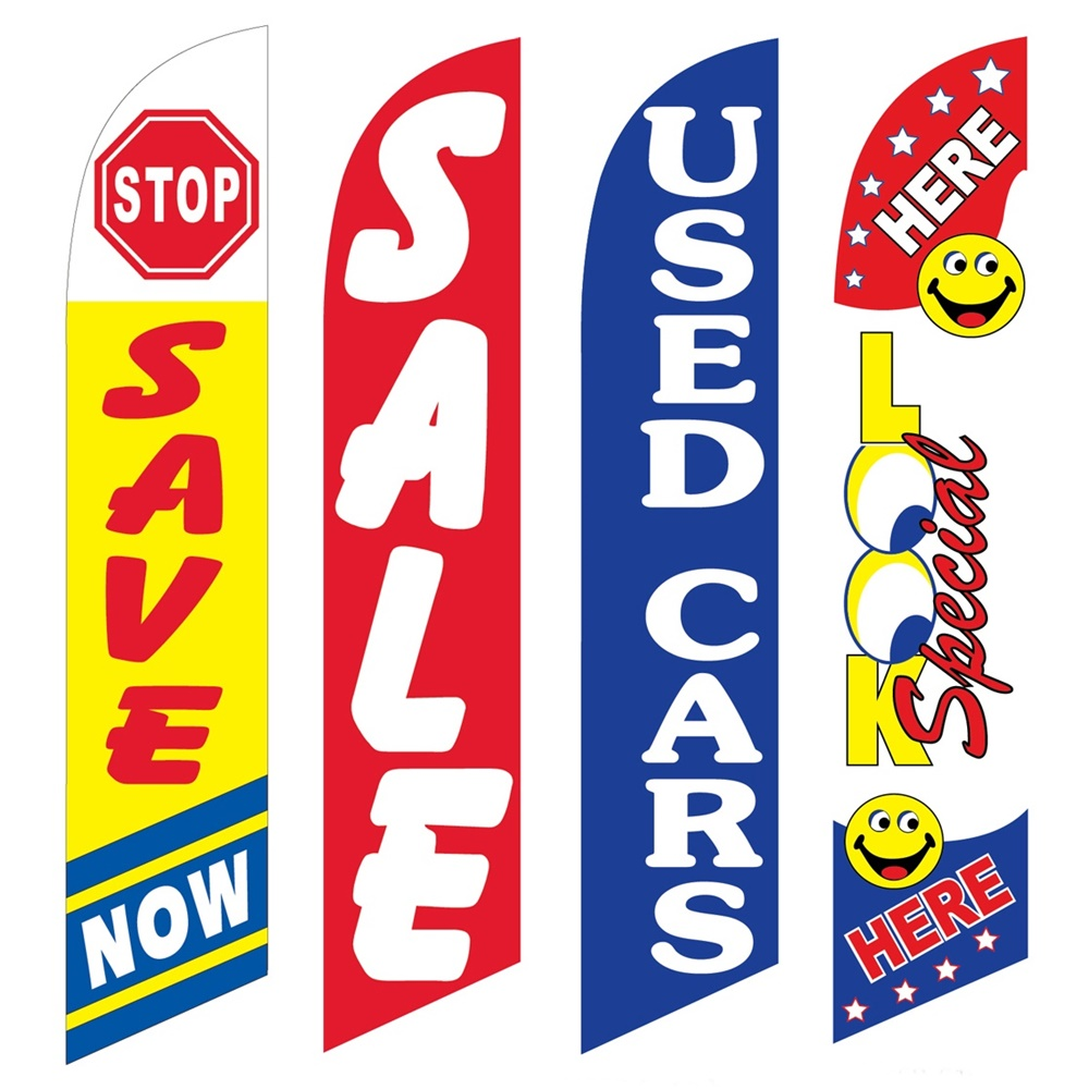 4 Advertising Swooper Flags Save Now Sale Used Cars Look Special Here