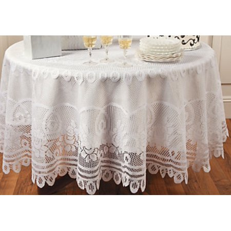 Elegant White Round Lace Tablecloth with Scalloped Edges 84 Inches Diameter - Table Linens, 84 Inches in Diameter. By Oriental Trading Company (Orential Trading)