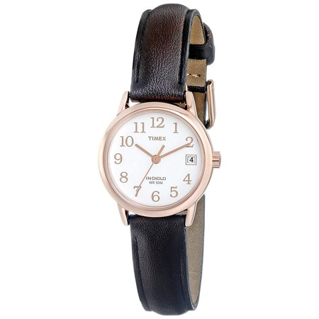 Indiglo Night Light Date Display (Women's T2P5649J Indiglo Leather Strap Watch, Dark Brown/Rose Gold-Tone, Rose gold-tone watch featuring white dial with Indiglo night-light, date window )