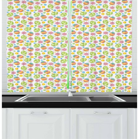 Easter Curtains 2 Panels Set, Patchwork Style Graphic Scrapbook Pattern with Daisy Sewing Buttons and Egg Figures, Window Drapes for Living Room Bedroom, 55W X 39L Inches, Multicolor, by (Dancing Daisy Panel)