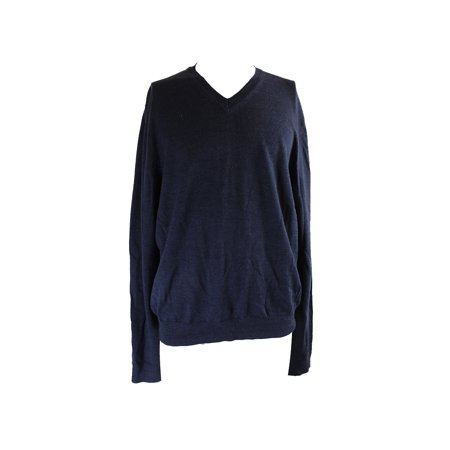 Bloomingdales Steel Blue Long Sleeve Merino V Neck Sweater Xl