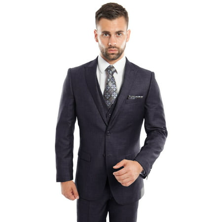 Mens Three Piece Ultra Slim Fit Birdseye (3 Piece Mens Suits)