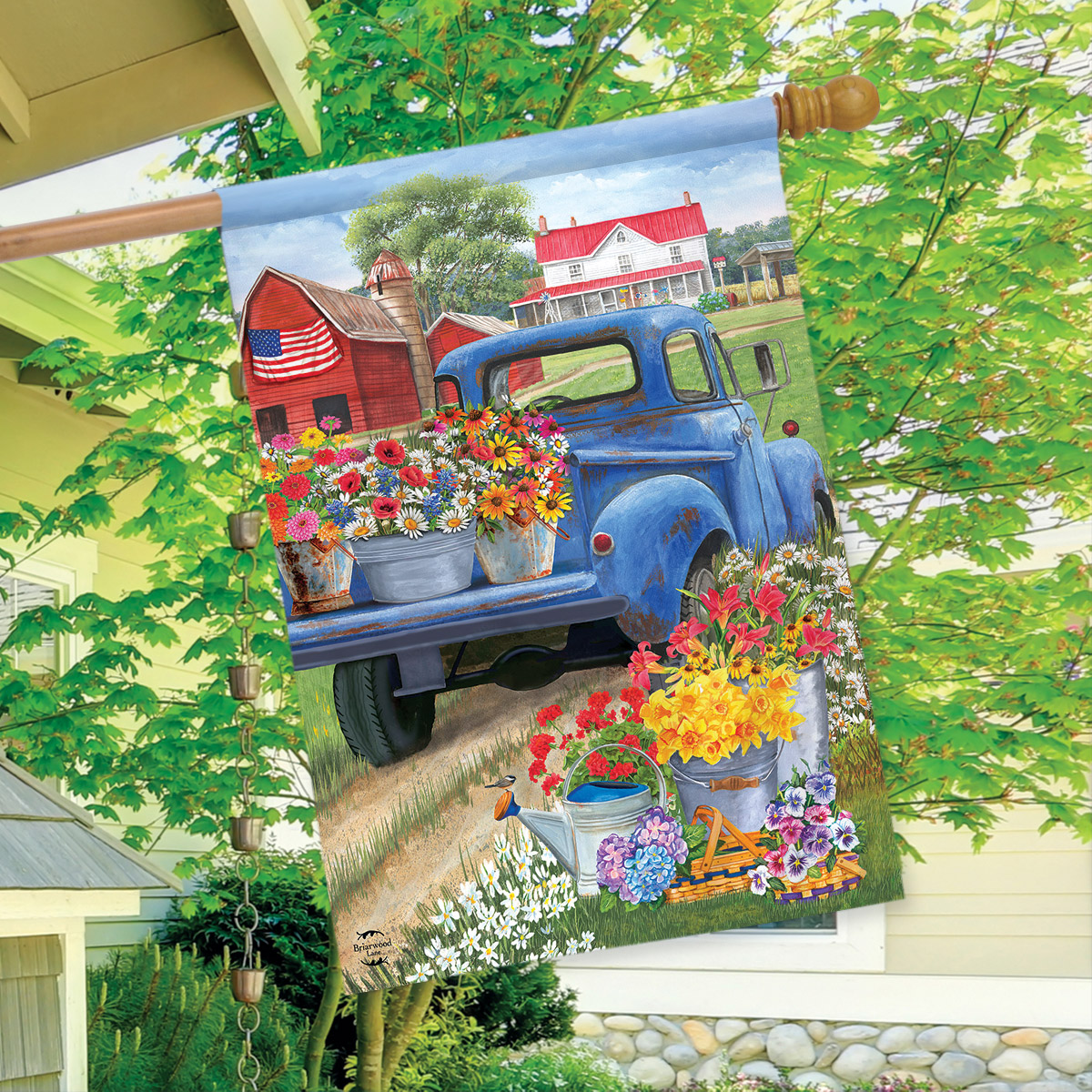 """Day On The Farm Spring House Flag Pick-up Truck Floral 28/"""" x 40/"""" Briarwood Lane"""