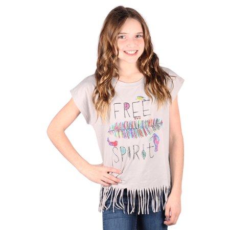 Lori&Jane Girls Gray Graphic Print Hippie Fringe Short Sleeve T-Shirt