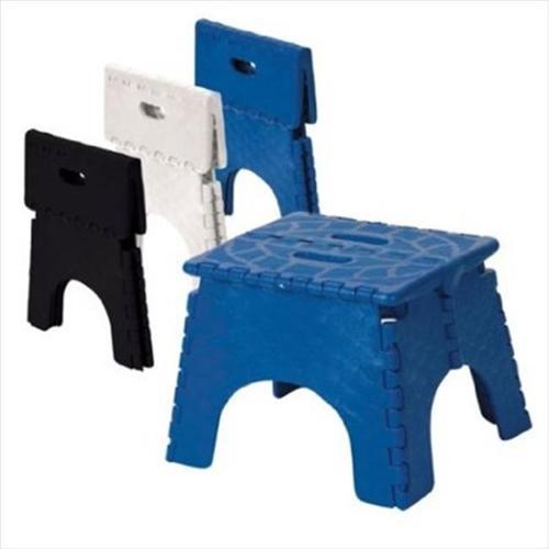 B&R PLASTICS 1016B High Folding Step Stool, Blue