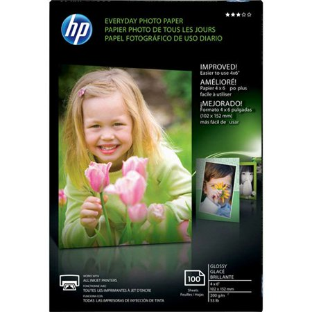 - Everyday Photo Paper, Glossy, 4x6, 100 sheets HP Everyday Photo Paper - 4