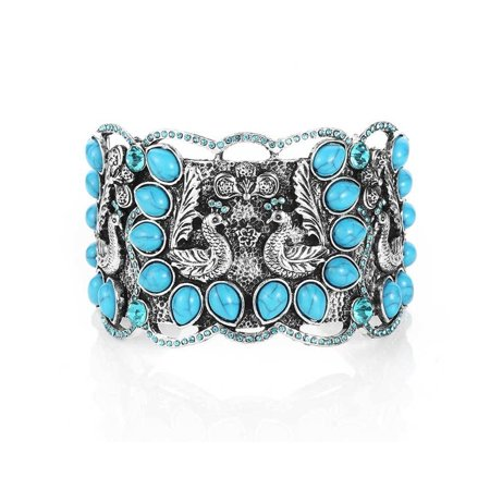 Novadab Trendy Fashion Jewelry Peacock Turquoise Cuff Bracelets For Women All Fine Jewelry Turquoise Bracelet