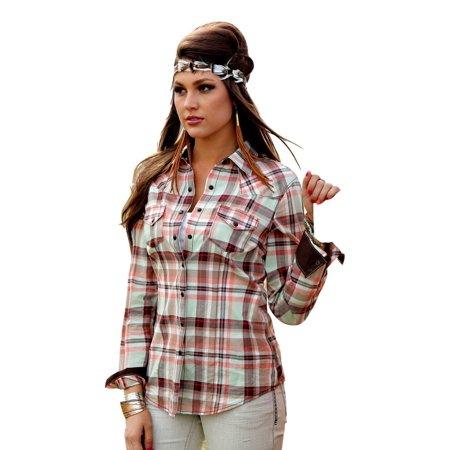 Cruel girl western shirt womens l s arena plaid snap brown for Lightweight plaid shirt womens