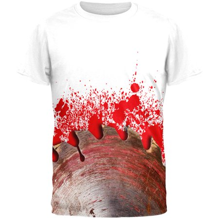 Halloween Bloody Saw Blade Massacre All Over Mens Black Back T Shirt - Solucion De Cody Halloween Saw Game