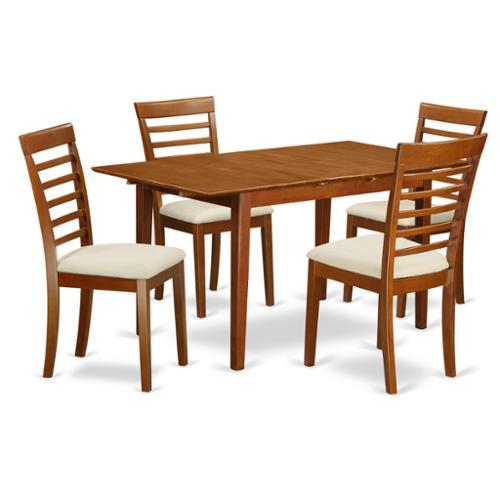 East West Furniture PSML5-SBR Brown Rubberwood 5-piece Dinette Set with Leaf