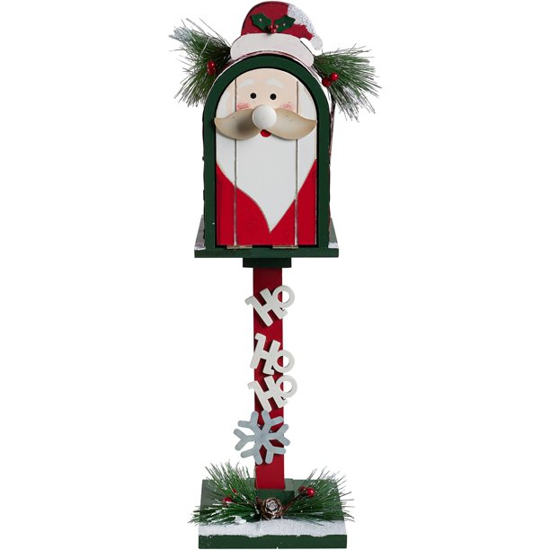 Holiday Time Red Green Rustic Wooden Santa Mailbox On Pole Decor Walmart Com Walmart Com