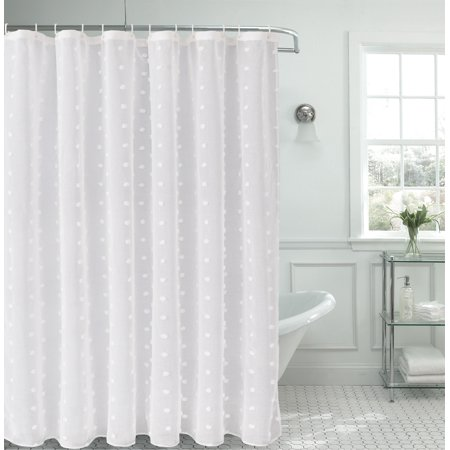 Dainty Home Snowball Linen Look Fabric Shower -