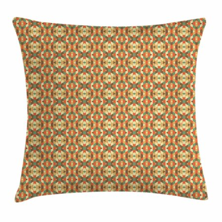 Geometric Throw Pillow Cushion Cover, Ethnic Triangles in Earthen Tones Aztec Folk Culture Boho Print, Decorative Square Accent Pillow Case, 18 X 18 Inches, Burnt Sienna Teal Sand Brown, by Ambesonne