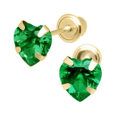 Jewelry 14K Yellow Gold 5mm Cubic Zirconia Heart May Birthstone Stud Screwback Earrings - image 1 of 1