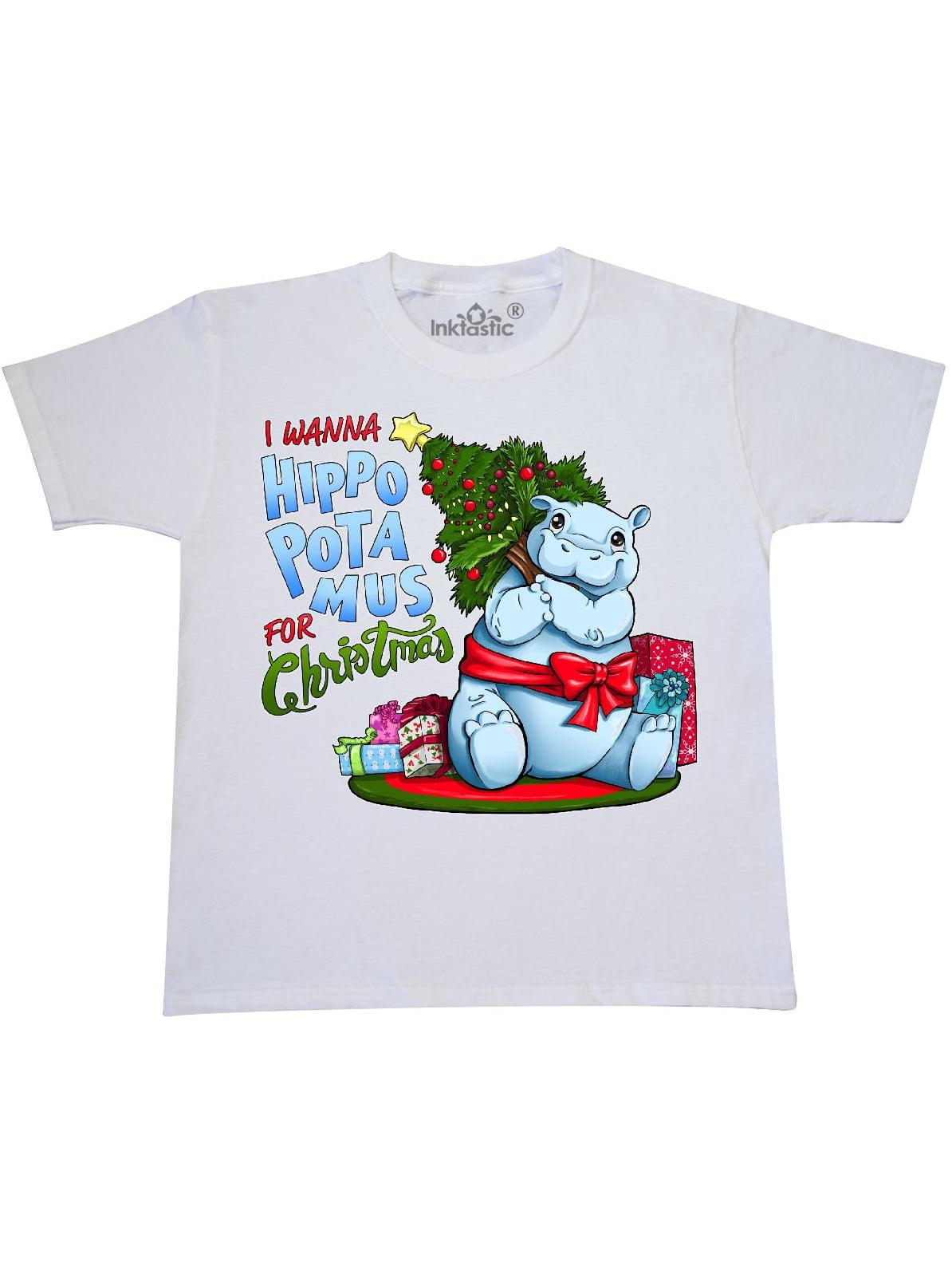 Inktastic - I Wanna Hippopotamus for Christmas- cute hippo Youth T ...