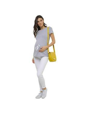 Short Sleeve Maternity Shirt Funny, Grey