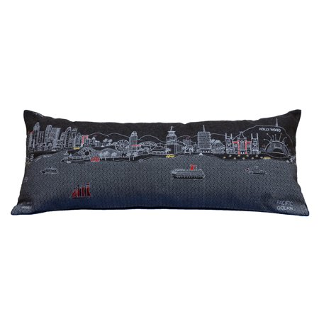 Beyond Cushions Los Angeles Night Skyline Queen Size Embroidered Accent Pillow](Accents Beyond)