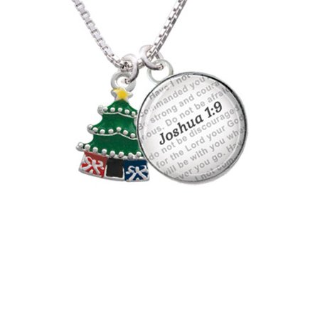 enamel christmas tree bible verse joshua 19 glass dome necklace