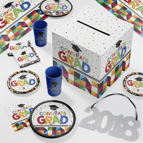Large Fractal Fun Graduation Deluxe Party Supplies Kit