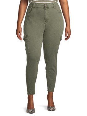 Planet Pink Juniors' Plus Size Brushed High Rise Skinny Cargo Pants