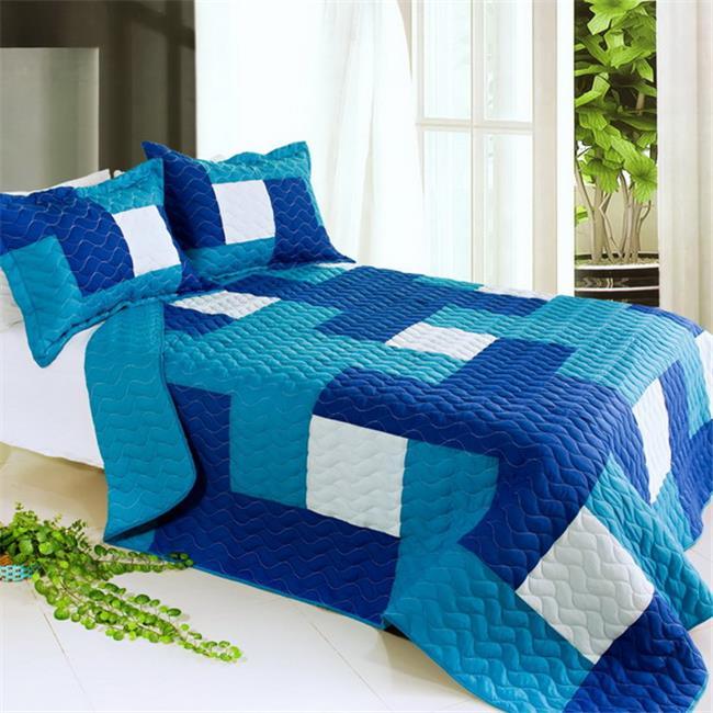 Blancho Bedding QTS01032-23 Blue Hour 3 Piece Full/Queen Vermicelli Patchwork Quilt Set