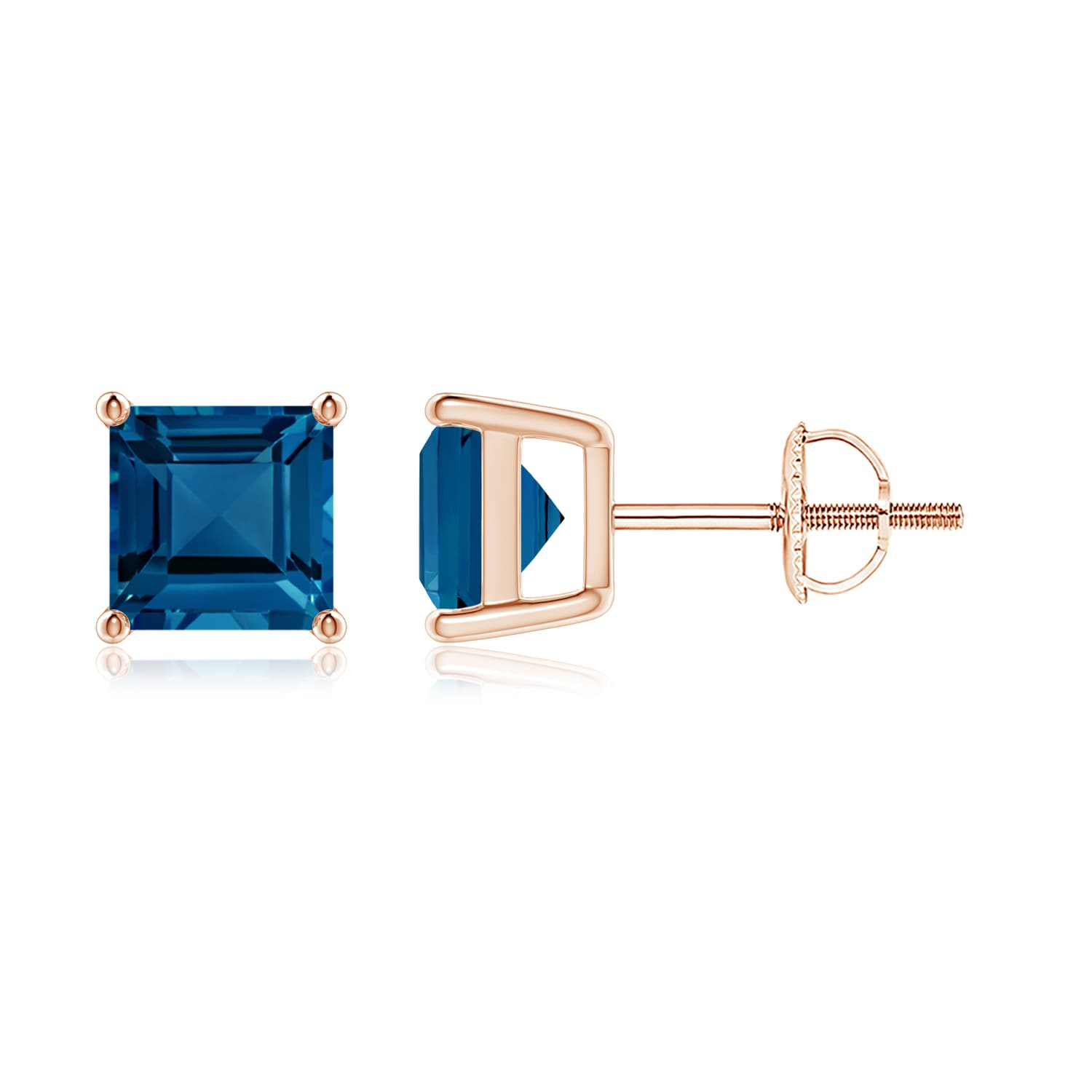 eb4950ca3052 Angara - Mother's Day Jewelry Sale - Classic Basket-Set Square London Blue  Topaz Stud Earrings in Silver (6mm London Blue Topaz) - SE0105LBT-SL-AAA-6  ...