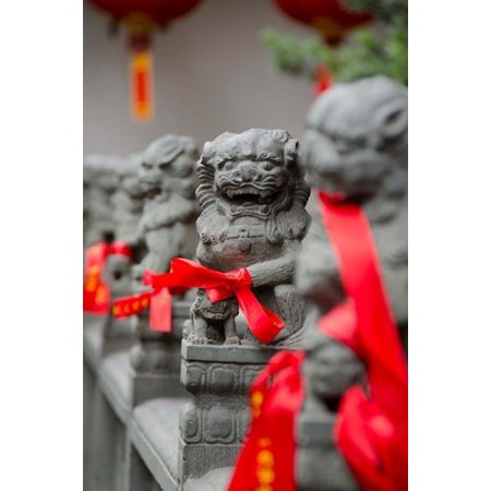 Stone lions with red ribbon Jade Buddah Temple Shanghai China Stretched Canvas - Cindy Miller Hopkins  DanitaDelimont (11 x 16)