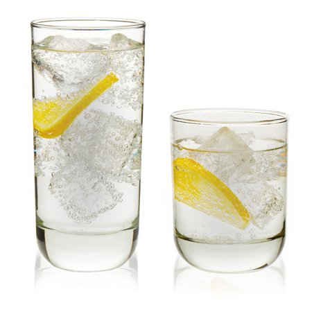 Clear Swivel Glass (Libbey Polaris 16-Piece Tumbler and Rocks Glass Set, Clear)
