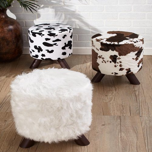 Taokaenoi Roilarn Animal Chair Print Ottomans Foot Stool Cowhide White Faux Fur Western Lodge Home