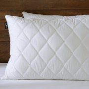 Set of 2 Quilted Feather and Down Pillows, 100% Egyptian Cotton ,White