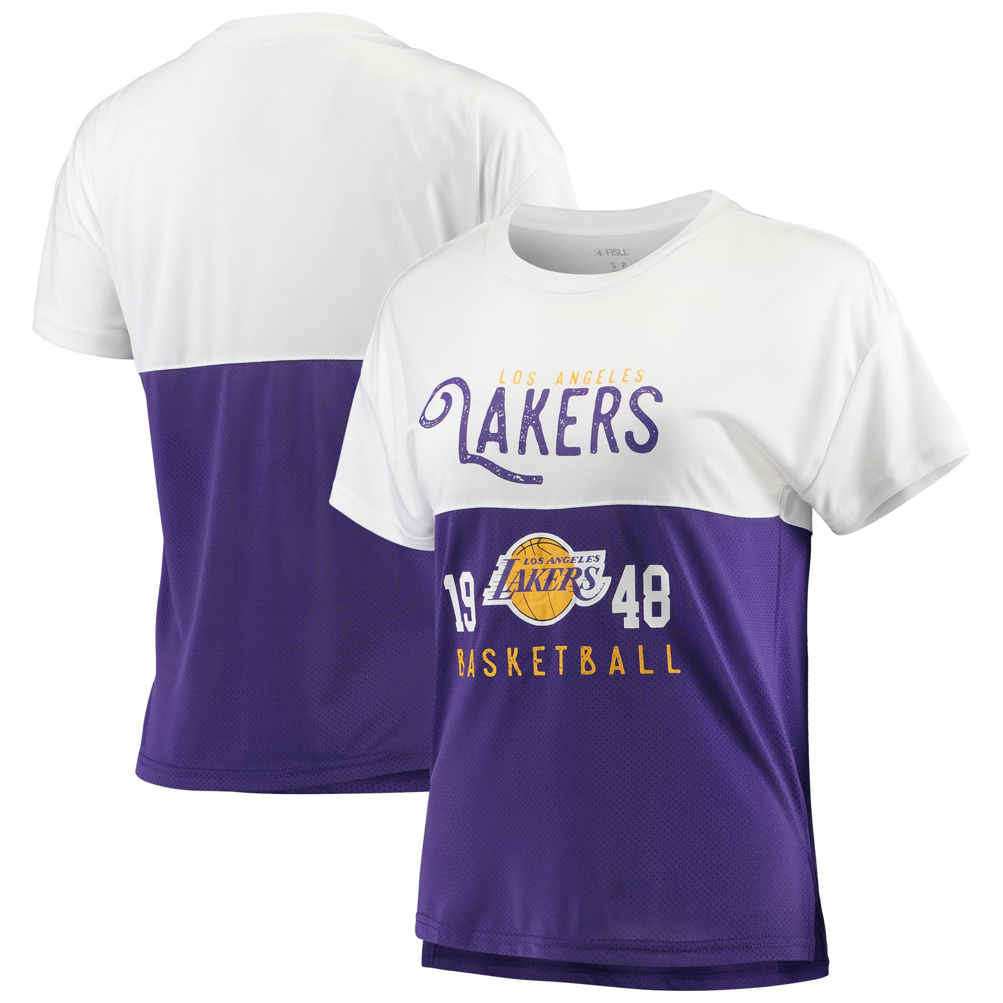 Los Angeles Lakers FISLL Women's Interlock Mesh Combo Short Sleeve T-Shirt - White/Purple