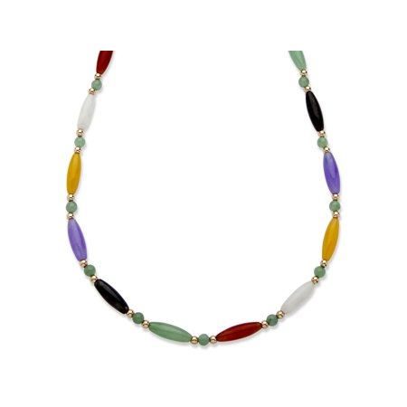 Multicolor Jade Beaded and Barrel Shaped Link Necklace in 14k Yellow Gold 18