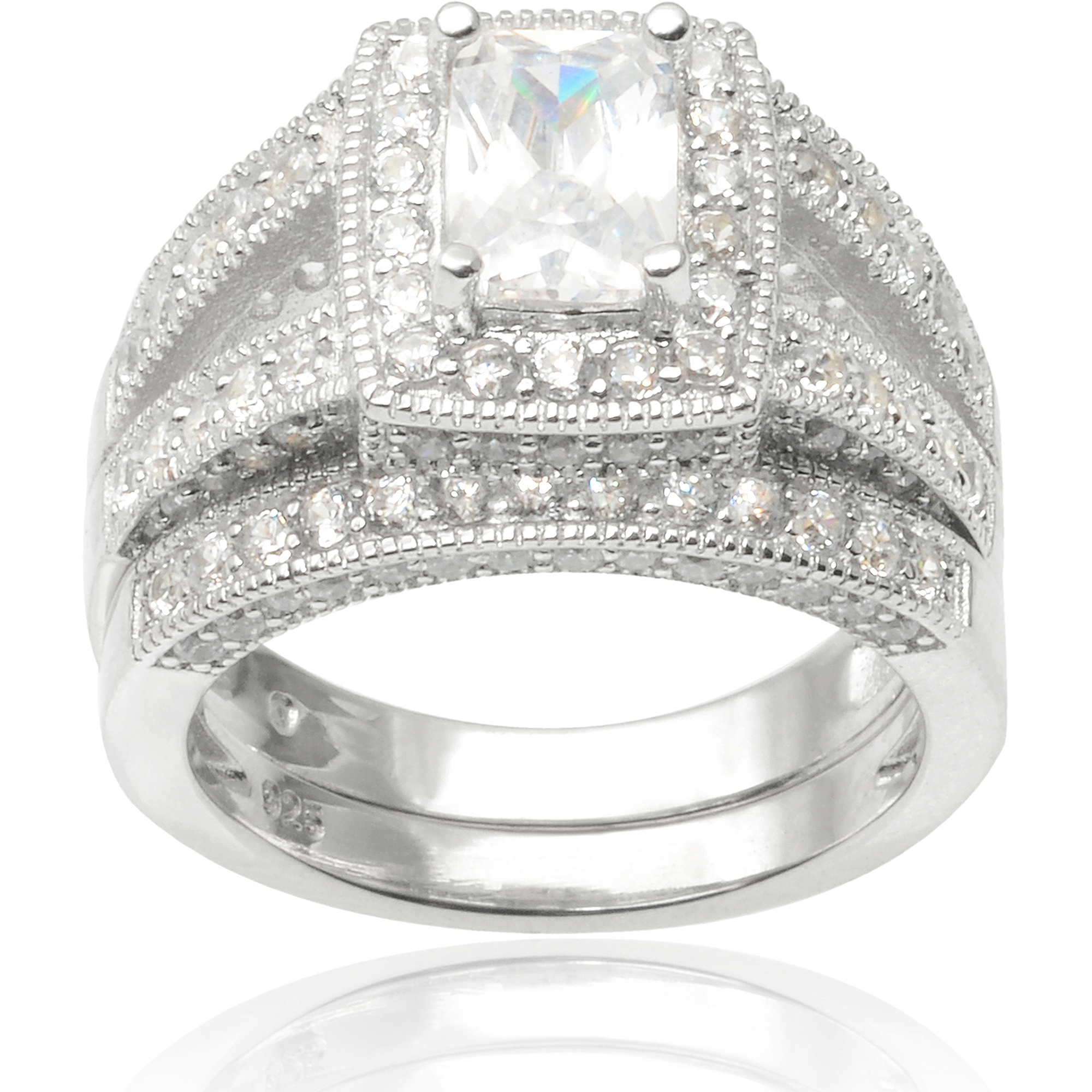 Alexandria Collection Sterling Silver 4-1/2 Carat T.G.W. Emerald Cubic Zirconia Bridal Ring Set