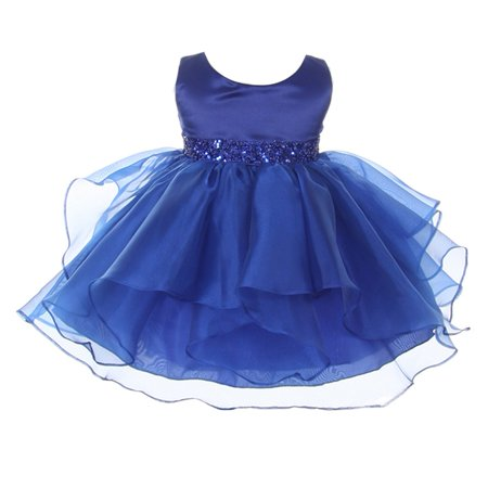 Chic Baby Girls Royal Blue Organza Embellished Waist Flower Girl Dress - Online Toddler Boutiques
