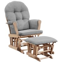 Angel Line Windsor Glider and Ottoman, Natural with Gray Cushion