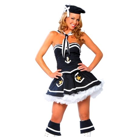 Sexy Adult Womens Halloween Costume Pin Up Navy Sailor Girl Dress Costume Theme Party Outfit - Pin Up Halloween Costumes