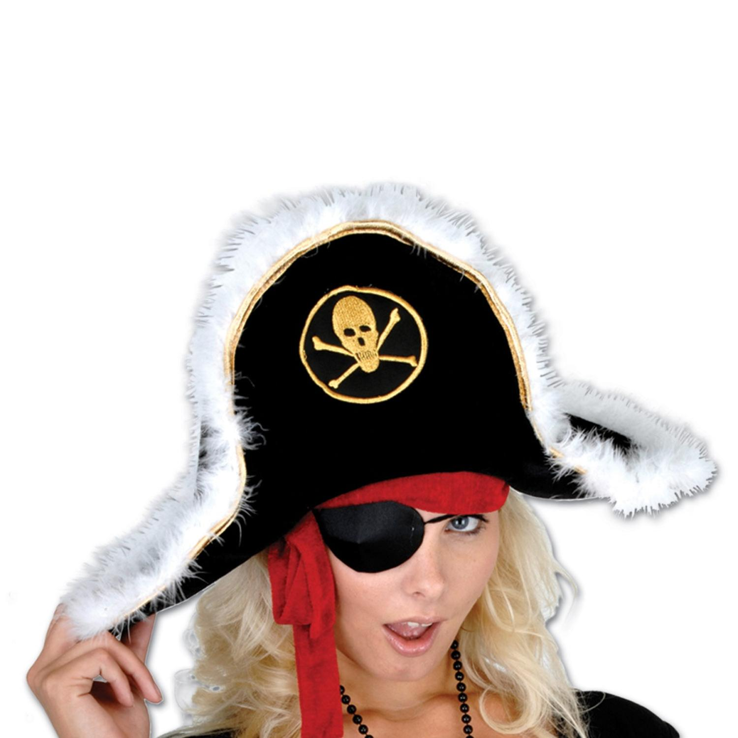 Pack of 6 Black White and Gold Plush Pirate Captain's Party Hat - Adult
