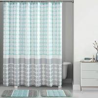Mainstays 15 Piece Blue Orbit Printed Shower Curtain Bath Set