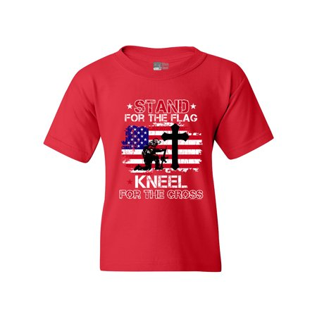 Stand For The Kneel For The Cross Soldier USA DT Youth Kids T-Shirt Tee Wooden Soldier Children Clothes