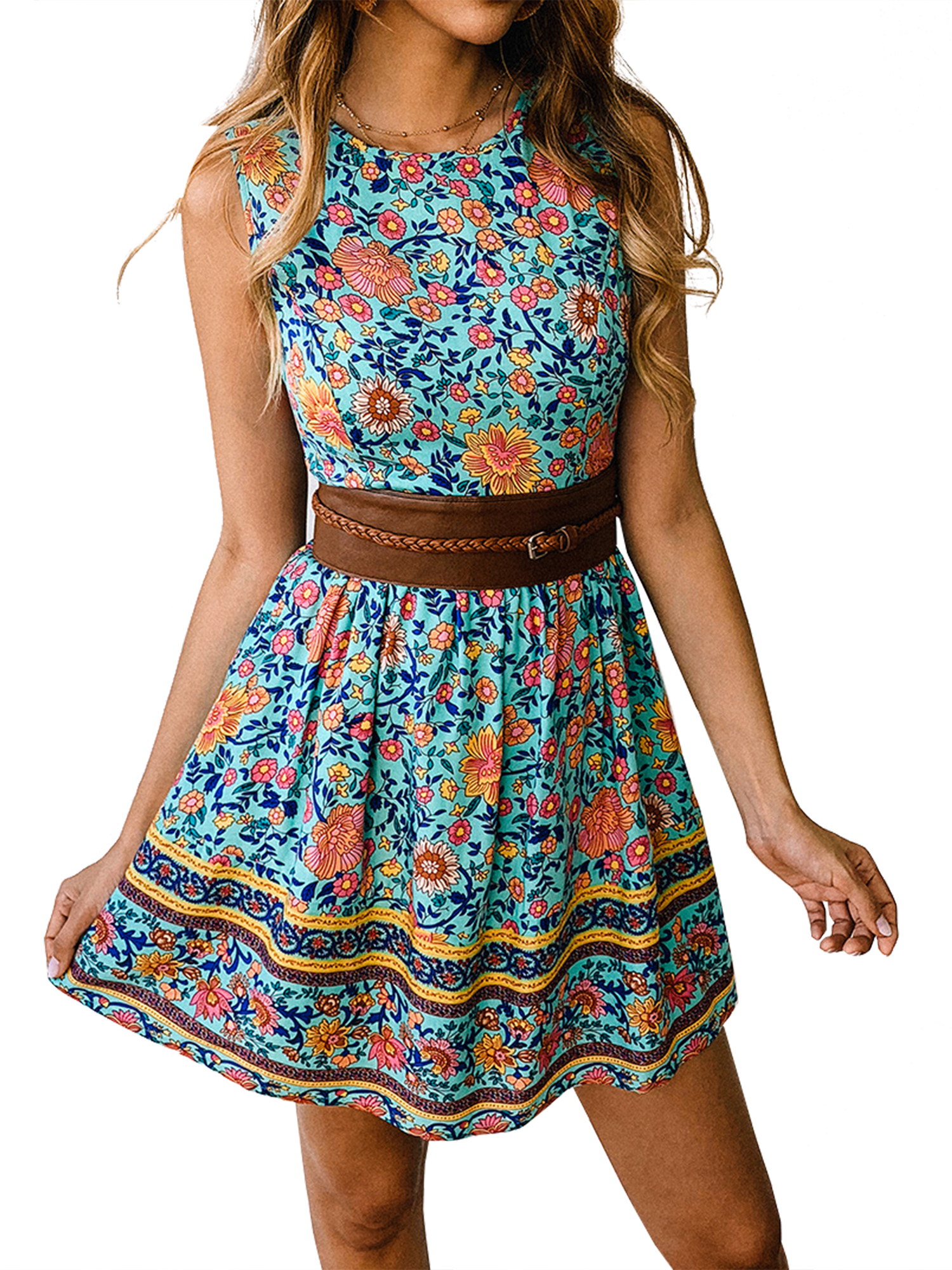 Women/'s Summer Swing Skater Dress Short Sleeve Evening Party Mini Dress Sundress