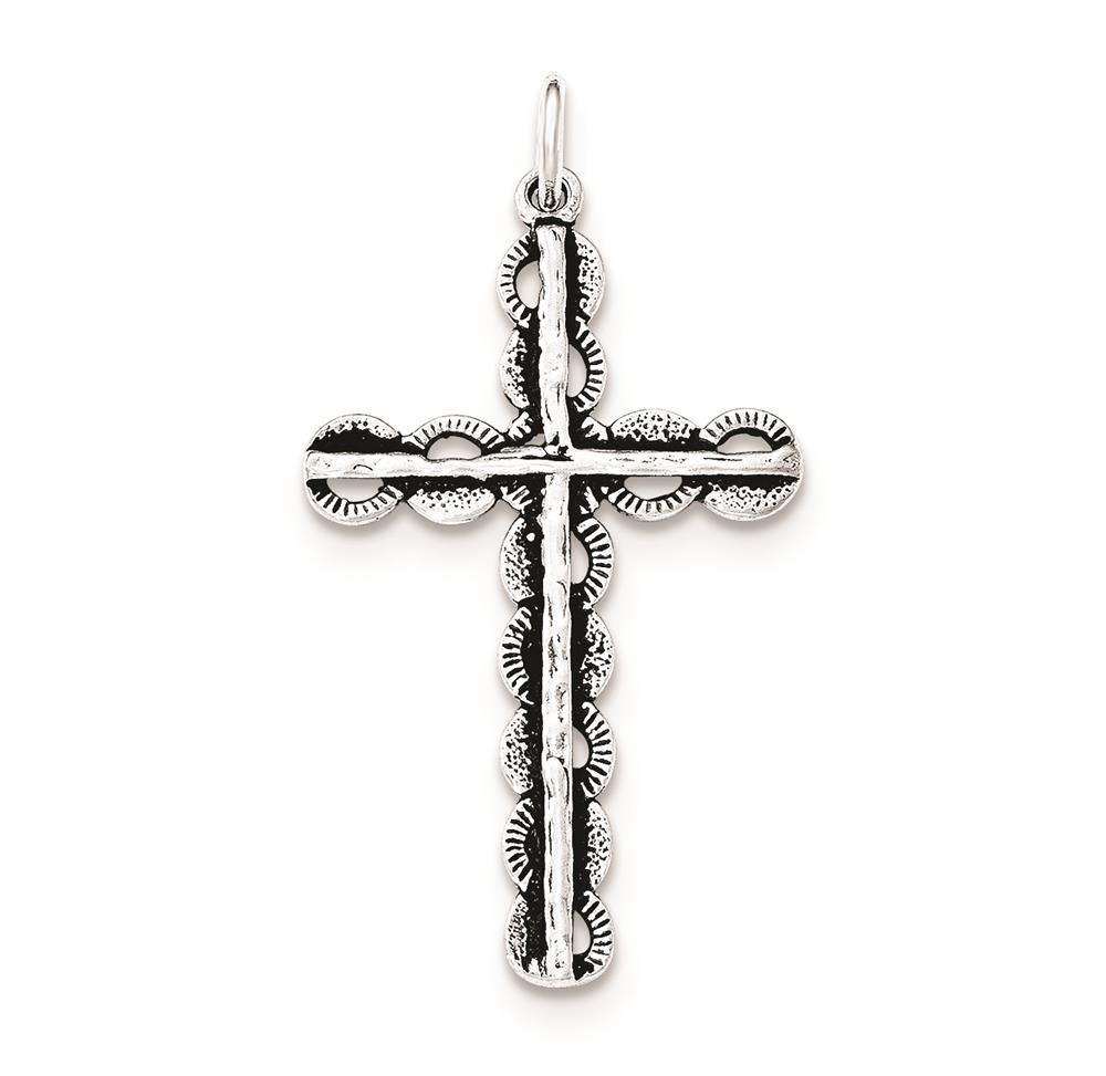 925 Sterling Silver Antiqued Circles Behind Cross Polished Charm Pendant