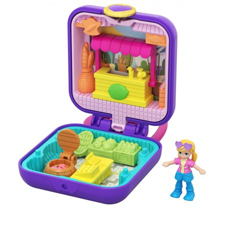 Polly Pocket Tiny Pocket Places Polly Farmer's Market Compact, Micro Doll and Accessory