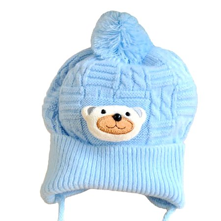 cute blue teddy bear winter hat for babies. Black Bedroom Furniture Sets. Home Design Ideas