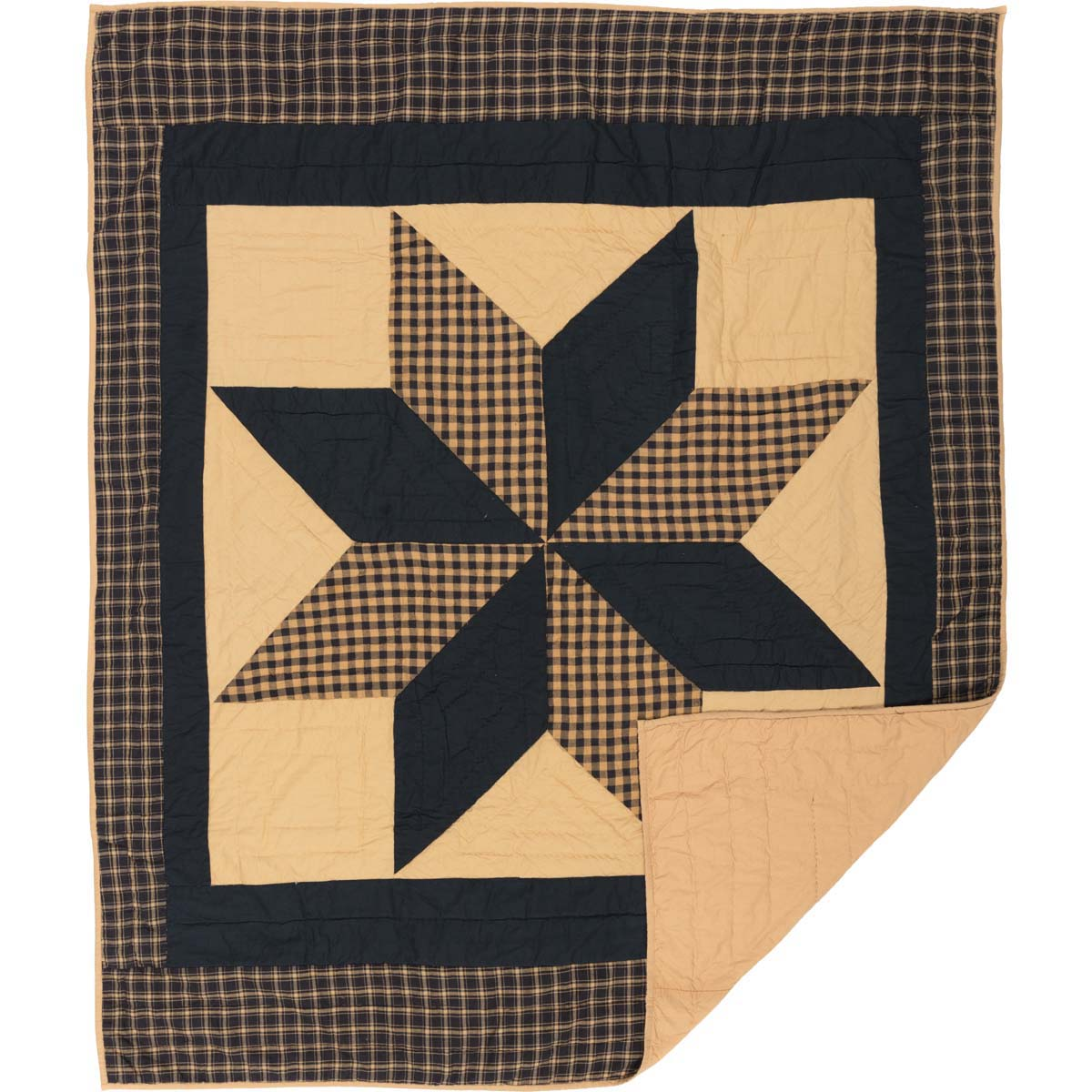 Country Black Primitive Decor Lansing Black Rod Pocket Cotton Pre-Washed Patchwork Star Throw